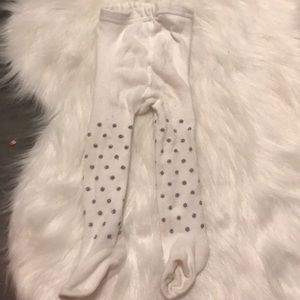 Other - Baby girl silver polka dot tights